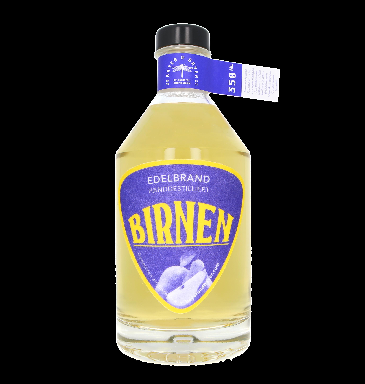 Birnen Eichenfass Bayer und Bayer Edelbrand Bioland 350ml Freisteller